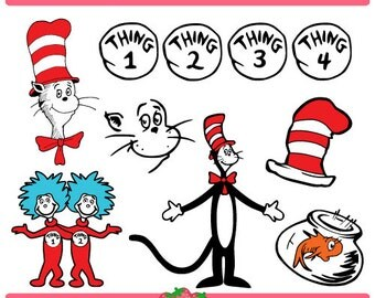 Cat in the Hat Dr Seuss and thing 1 and thing 2 Set Svg File