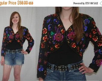 On Sale Vintage 80s Stenay Floral Sequin Beaded Cropped Dress Jacket M L