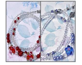 Lampwork flower Reading eye glasses, spectacles, chain lanyard holder choose red or blue