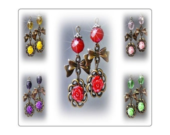 Earrings Bronzed Bow with rose choose from red, purple, yellow, green, pink, clip on or pierced fittings