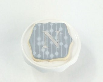 Modern Monogram Cookie Wedding Favors - Gray and White - Sugar Cookies - Silver