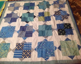 Quilted blue double box throw