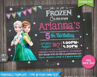 Frozen Birthday Invitation - 85% OFF - INSTANT DOWNLOAD - Printable Disney Frozen Birthday Invite - DiY Personalize & Print (FRin15)