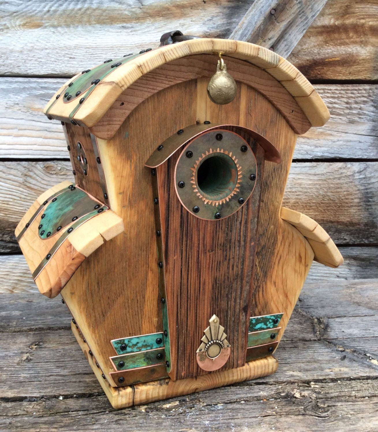 Unique Wooden Bird Houses: Unique Birdhouse Barnwood Villa Handmade By CampbellWoodworks