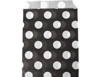 20 Wedding favor bags, black and white polka dot favor bags, gift bags, cookie bags, goodie bags, party supplies, candy bags, wedding bags