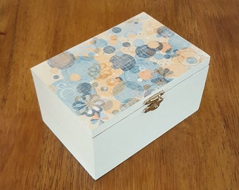 Wooden trinket box, decoupage jewellery box, patterned jewellery box, decoupage box, patterned keepsake box, gift for her painted wooden box