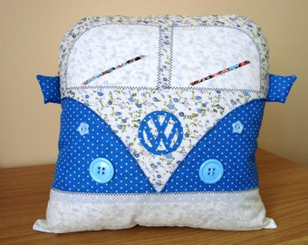 Handmade Vintage Retro Style VW Campervan Cushion Blue and Ivory (personalised)