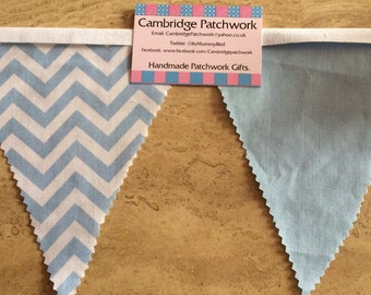 Blue and White Chevron & Blue Cotton Fabric Bunting Per Metre ideal for Boys Baby Showers, Christenings, Bedrooms