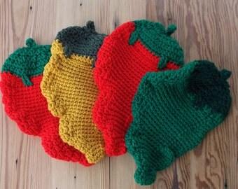 Crocheted Hot Pepper Hot Pads