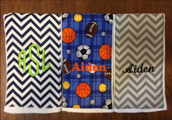 Burp Cloth SET OF 3- You Pick Fabric- FREE Personalized Embroidery
