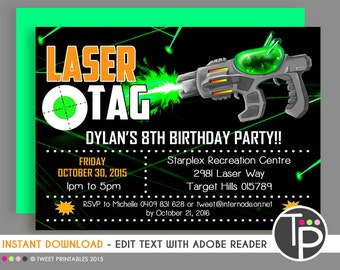 LASER TAG INVITATION, Instant download Laser Tag Invitations, Laser Tag Party, Laser Tag Printable, Party, Edit yourself with Adobe Reader