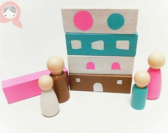 """OOAK """"Pastel Family"""" wooden game"""