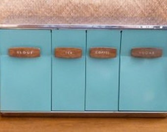 1950's Chrome & Turquoise Canister Set