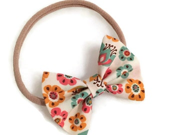 Organic Floral Fabric Bow
