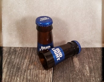 Bud Light shot glasses made from the necks of beer bottles! Hand cut and polished Set of 2!