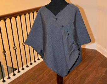 Chic Charcoal Grey  Poncho