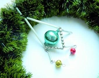Vintage Bugle Beads Antique Glass Christmas Ornament Bugle beads Abstract Glass Ornament Constuction Green Bugle Beads Christmas Decor