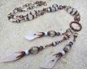 Long Rustic Gemstone Statement Necklace ~ Ethnic Wedding Jewellery, Rose Quartz Necklace, Calla Lily Flower Necklace, Copper Necklace, OOAK