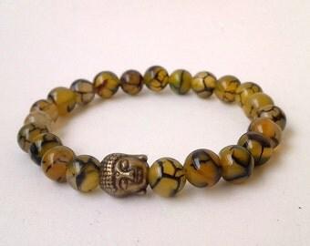 FREE SHIPPING, 8mm  Dragons Veins Agate Stone Beads , Spider Web Agate ,Buddha bracelet, Yoga Bracelet ,Yoga Jewelry