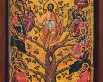 Eastern Orthodox icon of Jesus Christ as the True Vine,16th century Byzantine icon in the Byzantine Museum of Athens.