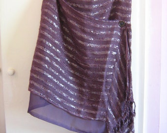 Quirky, Purple Upcycled, Refashioned, Womens Wraparound Skirt