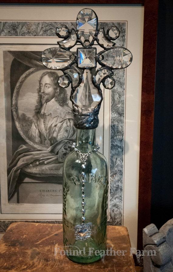 Handmade Antique Pale Aqua Green Glass Cross Bottle from Scotland