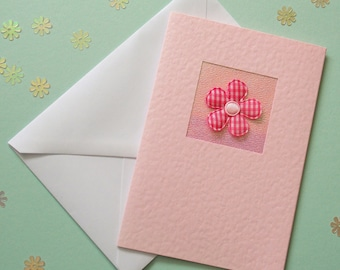 Birthday Card, wife, mum, friend, daughter, girlfriend, for her, dark pink gingham flower, pretty in pink, modern, recycled envelope