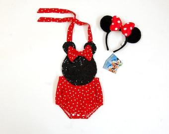 Minnie Mouse Halter Romper//Baby Romper//Toddler Romper