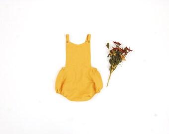 Mustard Romper//Baby romper//toddler romper