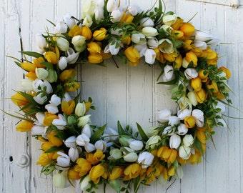 Yellow Tulip Wreath, Spring Wreath, Spring Tulip Wreath, Yellow and White Tulip Wreath, Spring Wedding, Easter Wreath, Front Door Wreath