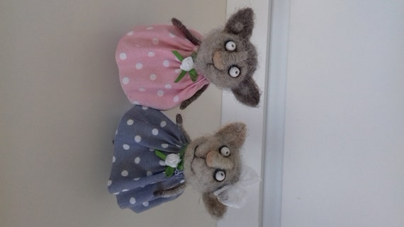 Little cute kitty Handmade natural wool Gift Kitten in a dress