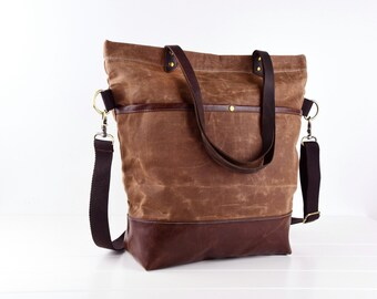 Brown waxed canvas tote,Convertible Tote, Leather Adjustable Strap Adjustable Strap - Leather Handles/Canvas and Leather Tote/Waterproof bag