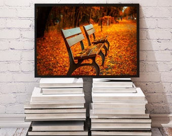 Park poster Bench decor Leaves print
