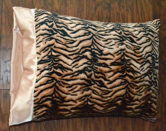 Animal Print Pillowcase, Tiger print, Minky Pillowcase.