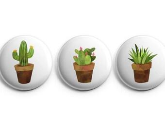 Cactus Set of 3 buttons, Succulents, Cacti button - Pinback Button, Magnet, cactus badges, cactus pinback buttons, succulent pins (B014)
