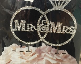 Mr and Mrs silver ring topper