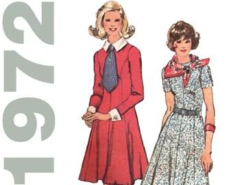 Lolita Dress Pattern SIMPLICITY 5152 sz 16 b 38 UNCUT Necktie Dress Detachable Collar and Cuffs Princess Dress Princess Seams 1970s Dress