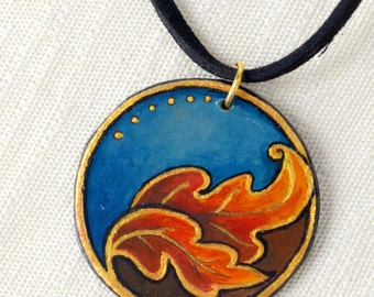Autumn - Gold, orange, and blue hand painted pendant