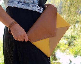 Clutch envelope Brown Beige Yellow Clutch Purse Vegan Eco Faux leather Handbag  strap Evening Bag wedding bridesmaid Clutch bag