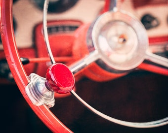 Classic Car Art, Steering Wheel Knob Photo, Man Cave Decor, 1950 Classic Car Print, Ford Photograph, Classic Car Photo, Automobile Art