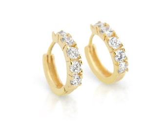Huggie earrings. Gold huggie earrings. Silver huggie earrings. Cz diamond huggies. Small hoop earrings. Hoop earrings. 15mm small huggies.