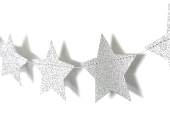 Silver Twinkle Twinkle Little Star, Paper Garland, Birthday Party Decor, Wedding Shower Decor, Nursery Decor