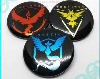 Pokemon GO Pin Team Mystic Team Valor Team Instinct 1.5 inch 2.25 inches Metallic Finish