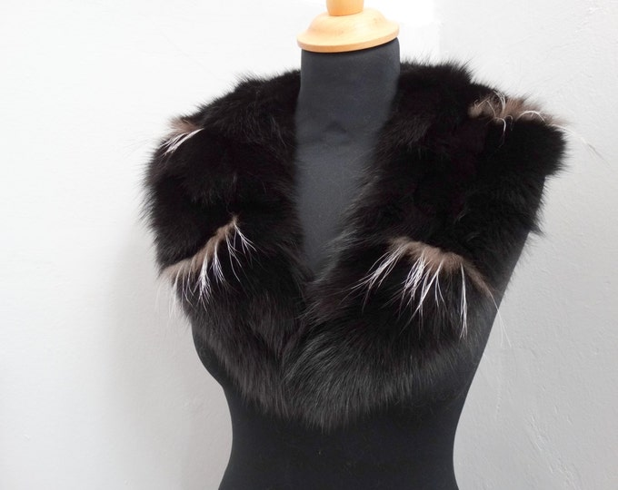 Black fox fur collar, Special for leather jacket F145