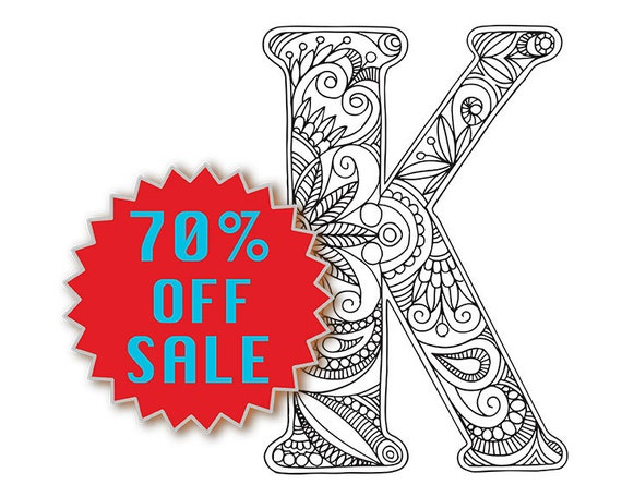 Adult Colouring Page Alphabet Letter K By PatternPixie On Etsy