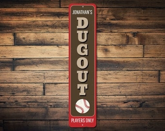 Baseball Dugout Vertical Sign Personalized Kid Name Ball Players Only Metal Decor Custom Child