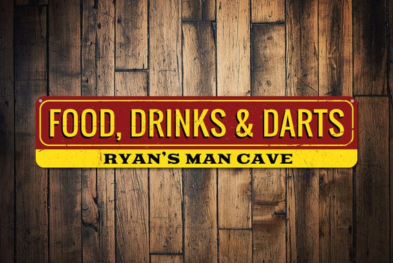 Man Cave Meals : Food drinks darts sign personalized name man cave