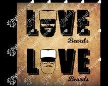 Beard Love Svg Png Dxf Eps Fcm Cut file for Silhouette, Cricut, Scan n Cut Love Beards SVG
