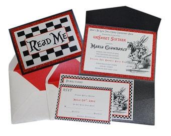 Custom Handmade Alice in Wonderland Invitation for Wedding, Birthday, Sweet 16 etc