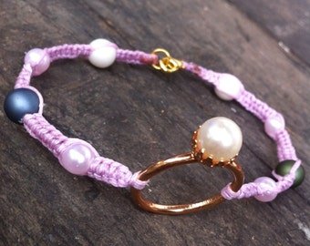 Macrame powerstone  handmade anklet pink